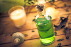 Body lotion aromatic candles session spa Stock Images