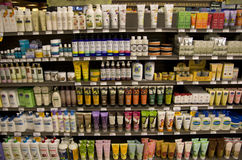 Body lotion in store Royalty Free Stock Images
