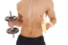 Body of man banana weight Royalty Free Stock Image