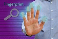 Body man show hand, fingerprint concept, Futuristic fingerprint Stock Images