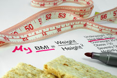 Body mass index BMI. Measuring tape, a  bread  and a paper with a Body mass index formula Stock Photos