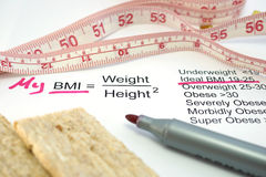 Body mass index BMI. Measuring tape, a calculator and a paper with a Body mass index formula stock images