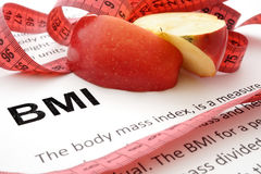 Body mass index BMI. Measuring tape  and a paper with a Body mass index formula Royalty Free Stock Image