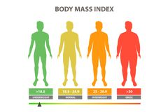 Body mass index. Vector illustration color. Scale mass index Stock Illustration