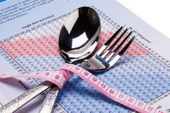 Body mass index chart. Fork ,scoop and band tape on body mass index chart Royalty Free Stock Image
