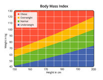 Body Mass Index in cm and kg. Body Mass Index chart in cm and kg stock illustration