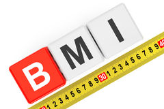 Body Mass Index Concept. BMI Cubes with Measuring Tape Stock Image