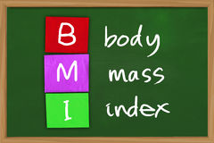 Body Mass Index. Health concept image of BMI body mass index written on colored paper over green chalkboard Stock Photo