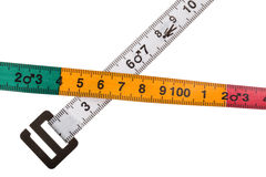Body mass index measuring tape. For men on white background Stock Photo