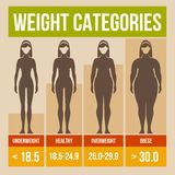 Body mass index retro poster. Body mass index retro infographics poster. Vector illustration royalty free illustration