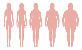 Body mass index vector illustration from underweight to extremely obese. Woman silhouettes with different obesity degrees. royalty free illustration