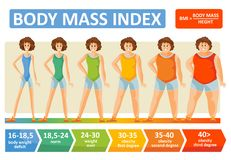 Body mass index woman age vector flat infographics template for fitness and obesity diet concept. Body mass index of woman obesity weight vector infographics stock illustration