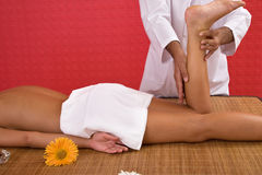 Body massage. Body care and massage concept at the spa center Royalty Free Stock Photography