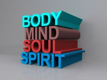 Body, Mind, Soul and Spirit. Illustration of 3D words 'body, mind, soul, spirit' in green, brown, red and blue colors, gray background Stock Images