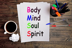 Body Mind Soul Spirit words. On white paper Stock Photography