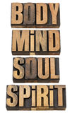 Body, mind, soull and spirit in wood type. Body, mind, soul and spirit - a collage of isolated words in vintage letterpress wood type Stock Photography