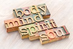 Body, mind, spirit and soul word abstract in wood type. Body, mind, spirit and soul word abstract in letterpress wood type against grained wood Royalty Free Stock Images