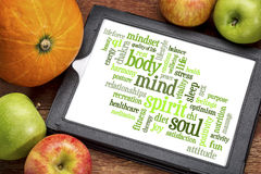 Body, mind, spirit and soul  word cloud. Body, mind, spirit and soul - word cloud on a  digital tablet Royalty Free Stock Image