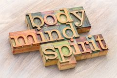 Body, mind and spirit word abstract in wood type. Body, mind and spirit word abstract in letterpress wood type against grained wood royalty free stock images