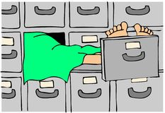 Body in a morgue. This illustration depicts a dead body in a drawer of a morgue Royalty Free Stock Images
