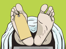 Body in morgue with tag pop art vector Royalty Free Stock Images