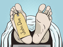 Body in morgue with tag pop art vector Stock Image