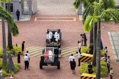 Body of Mr. Lee Kuan Yew entering Parliament house from the Istana on Mar 25 2015 Stock Image