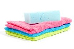 body multicolour sponge stacked towels Arkivfoto
