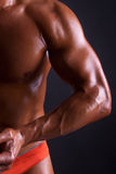 Body of muscles man on black background Royalty Free Stock Photography