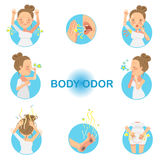 Body Odor. Women who have had body odor.  illustration Stock Photography