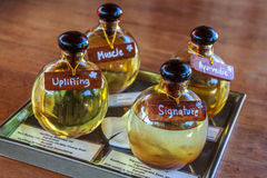 Body Oil Massage. Set Of Thai Herb Oil With Many Different In Set Ready For Body Massage Spa Treatment Stock Image