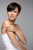 Body Pain. Beautiful Woman Feeling Pain In Shoulders And Arms Stock Photos