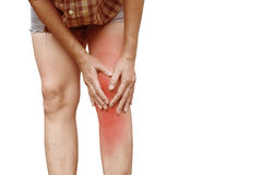 Body pain. close-up female body with pain in knees. Woman hands Stock Photos