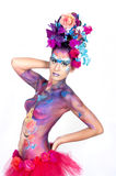 Body-painted girl.Carnival concept Stock Photography