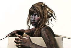 Body painted woman sitting in the box Royalty Free Stock Images