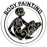 Body painting stamp. Hand drawn illustration of a body painting stamp with a silhouette of a girl isolated on white stock illustration