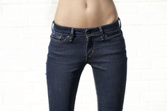 Body part blue female jeans Royalty Free Stock Image