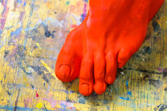 Body part plaster foot painting school Royalty Free Stock Photos