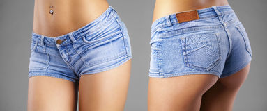 Body part sexy blue shorts Royalty Free Stock Photo