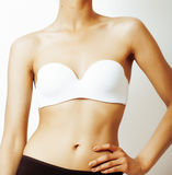 Body part, skinny mulatto tann belly on white background, new diet concept Royalty Free Stock Images
