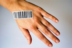BODY PARTS AND bar code. Stock Idea about body parts and bar code royalty free stock photo