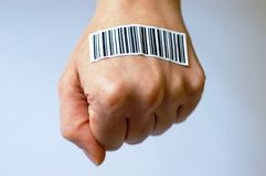 BODY PARTS AND bar code Royalty Free Stock Photography