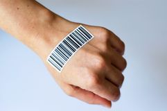BODY PARTS AND bar code Stock Image