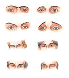 Body parts: eyes. Watercolor illustration: several human male eyes Stock Photography