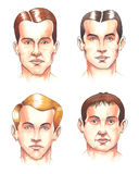 Body parts: faces. Watercolor illustration: set of different male faces stock illustration