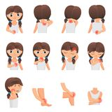 Body parts pain, child Diseases infographic set. Little girl kid feels pain in different parts of body flat vector. Illustration stock illustration