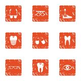 Body parts replacement icons set, grunge style. Body parts replacement icons set. Grunge set of 9 body parts replacement vector icons for web isolated on white Stock Photo