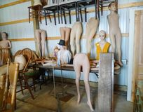 Mannequin parts on display in antique shop Royalty Free Stock Images