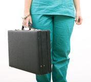 Body from pinned to suitcase with handcuffs hand Stock Images