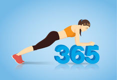 Body plank workout on number 365. Stock Photo